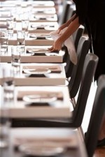 restaurante, mesa negra